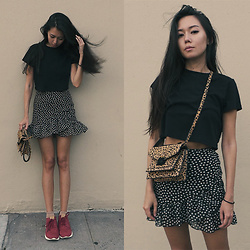 Aliya A - Somemoment Skirt, Loeffler Randall Bag, New Balance Sneakers - Dots...