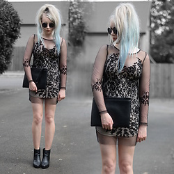 Sammi Jackson - Zaful Dress, Lovely Wholesale Bag, Topshop Boots - SEE THROUGH MESH LACE DRESS