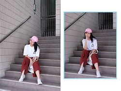 Melisa A - Palace Skateboards Logo T Shirt, Zara Culotte, Converse White, Tote Bag, Styledasher Cap - HIGHER