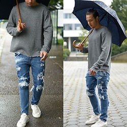 Lukas L. -  - Destroyed Jeans W/ Raw Edge Sweater