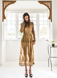 Elle-May Leckenby - Gold Sheer Lace Maxi, Wood Heel Burgundy Heels - Gold Lace