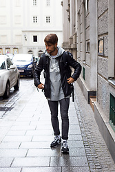Kevin Elezaj - New Balance Sneakers, Cheap Monday Jeans, Nike Sweater, Tigha Leather Jacket - Rainy day