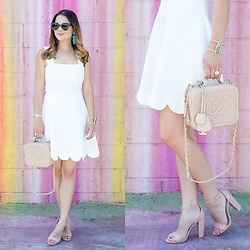 Jenn Lake - Endless Rose White Scalloped Dress, Steve Madden Nude Patent Carrson Sandals, Chanel Vanity Case Bag, Lisi Lerch Turquoise Tassel Earrings, Kendra Scott Gold Lawson Cuff, Urban Outfitters Round Tortoise Sunglasses - White Scalloped Dress