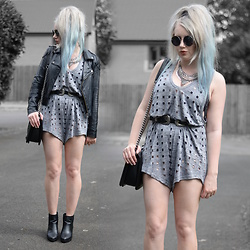 Sammi Jackson - Miss Selfridges Jacket, Zaful Playsuit, Asos Swimsuit, Choies Buckled Belt, Oasap Bag, Topshop Boots - CUTOUT PLAYSUIT