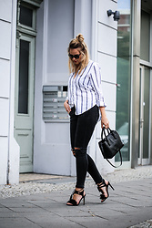 Josephin Wendland - Radley London Black Bag, Asos Black Heels, H&M Striped Blouse, Prada Sunnies - BLACK BAG & BLUE STRIPES