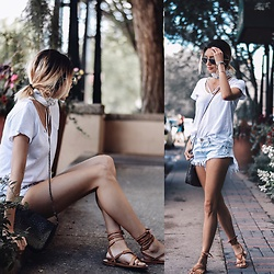 Amber - Lna White Tee, One Teaspoon Denim Shorts, Free People Leather Tie Up Sandals - Strappy basic
