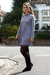 Daisy A - Reclaimed Vintage Black And White Checked/Gingham Dress With Bee Patch, Zara Black Cross Body Bag With Patches, Dune Black Suede Loafers - Trend: Patches