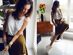 Ceci Bloom - Mago Top, Mango Skirt, Michael Kors Sneakers - Olive