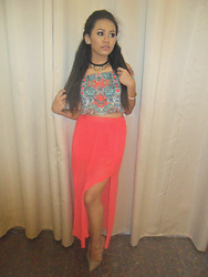 Krystel Galos - Forever 21 Off Shoulder Top, Divided Skirt, Thrifted Nude Pointed Heels - Prints On Top
