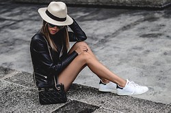 Raquel Cañas - Zara Leather Jacket, Kate Spade Bag, Adidas Stan Smith - LETHER & THE HAT