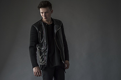 Alex Boyko - Zara Biker Jacket, New Yorker Asymmetrical T Shirt, Topman Skinny Pants - Black on Black
