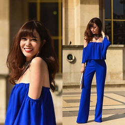 FromAmandaWithLove - Zara Off The Shoulder Jumpsuit, Asos Scallop Snake Clutch Bag - Blu Vibes