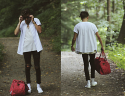 Corey Z - American Apparel Pinstriped Baseball Jersey, Feathers Raw Edge Tanktop, Asos Extreme Super Skinny Jeans, Vans Slip Ons, Herschel Paisley Duffle Bag, Ray Bans Matte Black New Wayfarers, I Love Ugly Archibald Watch - Don't Call Me Daniel