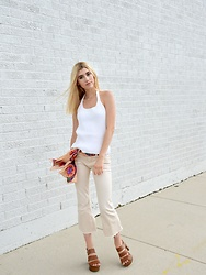 Dani Mikaela McGowan - J. Crew Vintage Halter, Free People Cropped Flares, Steve Madden Heeled Sandals, Vintage Scarf - White on White
