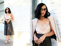 K T Reed - H&M Leather Midi A Line Skirt, H&M Silk Lace Camisole - Lace & Leather.