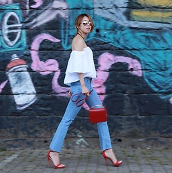 Rekay Style - Stylenanda Off Shoulder Top, Stylenanda Crop Bootcut Jeans, R.O.C Eyewear Mirror Sunglass, Marni Sculpture Bag, Sam Edelman Red Sandals - Off the Shoulder