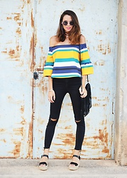 Rebeca LookForTime - Sheinside Blouse - Colorful stripes