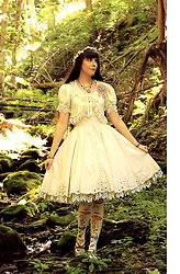 Tyler H - Handmade Short Sleeved Lace Cardigan, Handmade Tablecloth Jsk, Lotvdesigns Baby's Breath And Mulberry Flower Crown, Https://Www.Etsy.Com/Shop/Sakurafairy Mushroom Necklace, Handmade Battenburg Lace Underskirt, Lotvdesigns Acorn Bracelet, Lotvdesigns Rose Bracelet, Lotvdesigns Mushroom Stockings, Hotter Gold Heels, Moss Badger Mushroom Rosette - Fairytale Forest