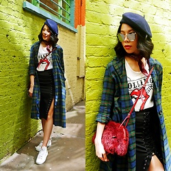 B @Style Voyage - Nasty Gal Lace Up Skirt, Spinns Tartan Shirt Dress - Mix it up