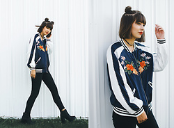 Chelsea Miller - Zaful Floral Embroidered Baseball Jacket - New Slang