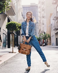 Qianwen Chen - Proenza Schouler Ps1 Medium Satchel, Madewell Denim Jacket, Splendid Denim Joggers, J. Crew Cece Flats - Denim on Denim