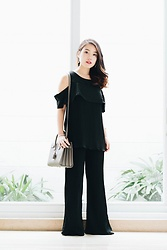 Pamela Wirjadinata - Cloth Inc Top, Cloth Inc Pants, Saint Laurent Bag - Black Pleats