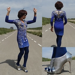 Francesca Di Parma - Just Cavalli Dress, Casadei Peep Toe Booties, Wolford Tights, Prada Sunnies - Just Cavalli in Blue
