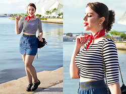 Joyce Nunes - Forever 21 Striped Crop Top, Forever 21 Elastic Waist Button Front Skirt, Lupo Fishnet Tights, Red Bandana, Melissa Grunge Oxford - Red Bandana