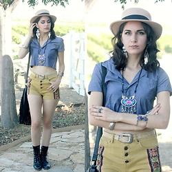 Lexi L - Zaful Flat Top Hat, American Apparel Crop Button Up Top, Nordstrom Rack Embroidery Shorts, Justin Roper Boots, Zaful Lotus Embroidery Necklace, Zaful Decorated Cuff - Passing Out Pieces