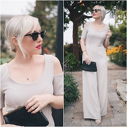 Kari Jane Ballesteros - Walg London Gray Jumpsuit, Eyebuydirect Sunnies, Hobo Black Clutch - WalG London