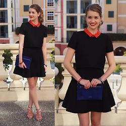 Heidi Landford - Maje Black Waffle Overlay Dress With Red Collar, Mimco Royal Blue Suede Pouches, Nine West Red, Blue And Snakeskin Statement Heels, Mimco Enamel Bangles, Mimco Silver And Blue Earrings - LBD and Statement Heels