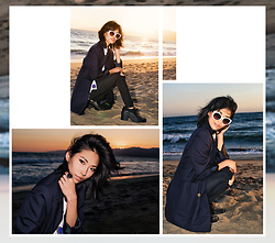 Eunice Kim - Topshop Navy Blazer, Topshop Dot Sleeveless Blouse, Vibrant Miu Distressed Jeans, House Of Harlow 1960 Antler Ring In Navy Cabochon, H&M Platform Oxfords - Loud Waves, Quiet Mind