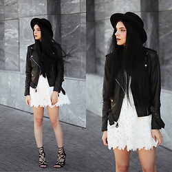 CLAUDIA Holynights - Leather Skin Jacket, Axparis Lace Dress - White lace and black leather