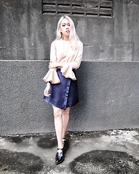 Cindy Karmoko - Atsthelabel Nude Dress As Top, Pomelo Blue Skirt, Zara Shoes - Nudes and Blues
