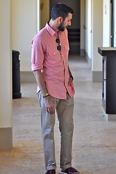 Hector Diaz - J. Crew Irish Cotton Linen Pink Shirt, J. Crew Essential Khaki Chino Pants, Aldo Red Leather Sandals, Topman Shades - A Wedding in Paradise