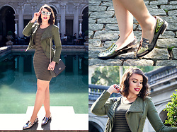 Joyce Nunes - C&A Studded Army Green Jacket, Forever 21 Striped Army Green Dress, Renner Metallic Silver Moccasin - Monochromatic Army Green