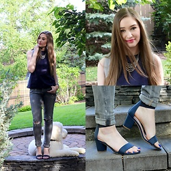 Taylor Doucette - Babaton Navy Suede Top, Dsw Navy Block Heel Sandals, Citizens Of Humanity Grey Rockets - Seasons (Waiting on You)- Future Islands