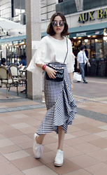 Miamiyu K - Miamasvin Frilled Foldover Sleeve Top, Miamasvin Flounced Gingham Print Skirt - Gaga for Gingham
