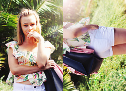 Marta S. - Romwe Tropical Blouse, White Shorts, Sheinside Black Bag - Tropical vibes