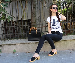 Jelena - Adidas T Shirt, H&M High Waisted Pants, New Look Mules, Le Specs Sunglasses, Gucci Vintage Bag - New look mules