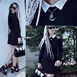 "Anna Garavello - H&M Sleeveless Shirt, Thrifted Coffin Bag, Lola Peres Platform Sandals, Wholesale Long Sleeves Dress, Thrifted Clip Earrings, Thrifted 50s Sunglasses ""Eyecat Model"", Aliexpress Life Tree Necklace, Kaoslab Braids - Hello September! Summer is ending!"