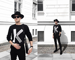 Patrick Pankalla - Kenzo Sweater, Carven Shoulder Bag, Tiger Of Sweden Trousers, Diesel Leather Boots, Louis Vuitton Leather Belt, Acne Studios Sunglasses, H&M Fedora Hat, Mulberry Bracelet - K For Kenzo