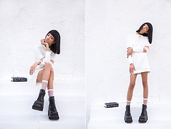 Indya S. - Demonia Black Boots, Dolls Kill Book Of Spells, Biohazard Cross - White Witch