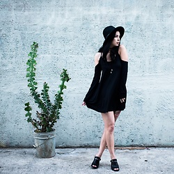 Kerstyn Inouye - Tobi Black Dress, Forever 21 Mules, Forever 21 Hat - Breeze