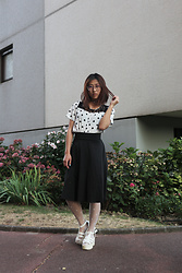 RuiJun L - Charlie Temple Glasses, Shop Chokers Choker, Primark Polkadot Top, More Tights, Newdress White Sandals - POLKADOT STYLE