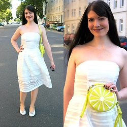 Caliope - C&A Lemon Clutch, H&M White Strapless Dress - White & Yellow