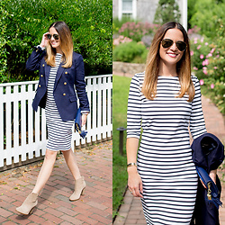 Jenn Lake - Saint James Paris Navy Stripe Propriano Dress, Banana Republic Navy Nautical Blazer, Ellie Kai Navy Tassel Clutch, Vince Camuto Tan Suede Feina Boots, Ray Ban Aviator Sunglasses, Kjp Rope Bracelets - Navy Stripe Dress on Nantucket