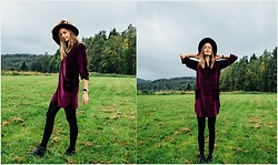 Agnija - Zaful Velvet Dress, H&M Fedora - Velvet dresses