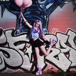 Alyssa Claire - Minga London Purple Velvet Top, Yru Pastel Vida Shoes, American Apparel Shorts - In the land of gods and monsters