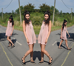 Laura E - Pink Silk Slip Dress, Tie Up Sandals - Seeing double